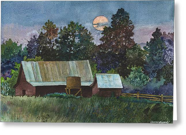 Moonlight Over Caribou Greeting Card