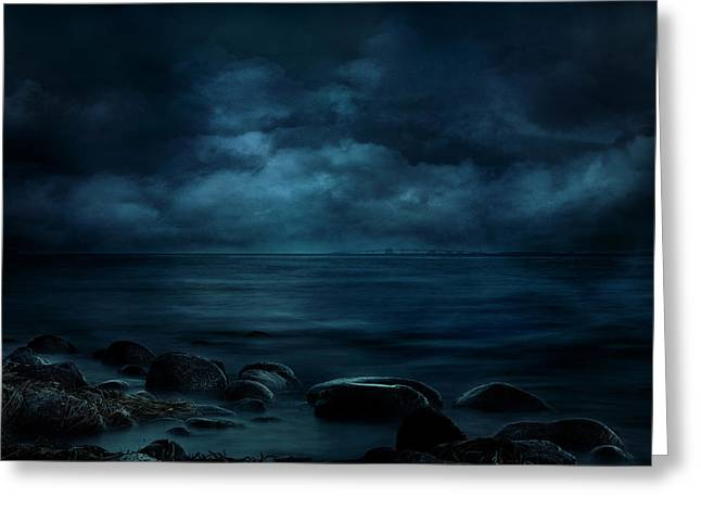 Moonlight Over Distant Shores Greeting Card
