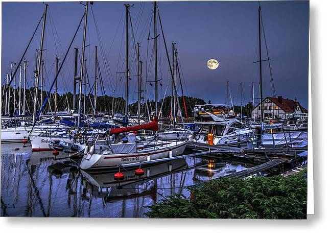 Moonlight Over Yacht Marina In Leba In Poland Greeting Card