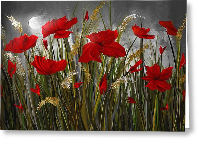 Moonlight Poppies - Poppies At Night Painting Greeting Card by Lourry Legarde