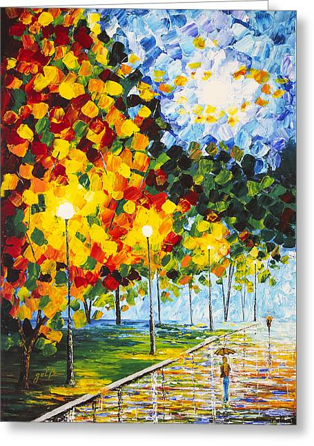 Greeting Card featuring the painting Moonlight Raindrops Original Acrylic Palette Knife Painting by Georgeta Blanaru