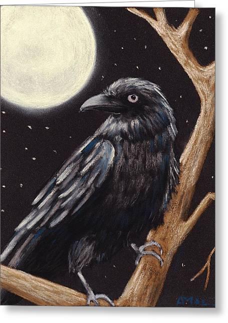 Moonlight Raven Greeting Card by Anastasiya Malakhova