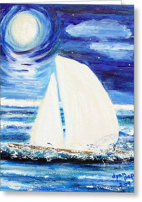 Moonlight Sail Greeting Card by Diane Pape