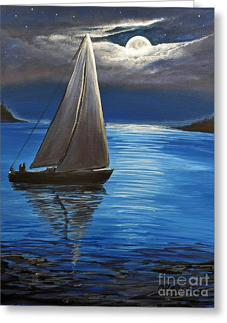 Moonlight Sailing Greeting Card by Patricia L Davidson