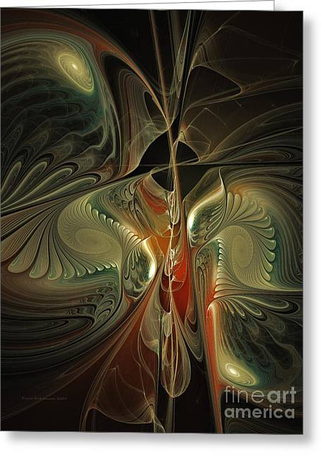 Moonlight Serenade Fractal Art Greeting Card by Karin Kuhlmann