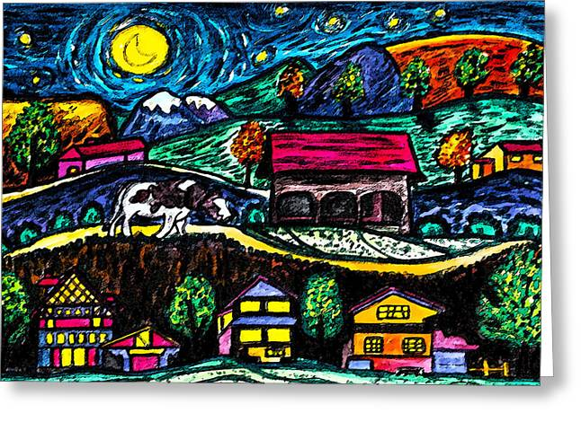 Moonlight Stroll Greeting Card by Monica Engeler