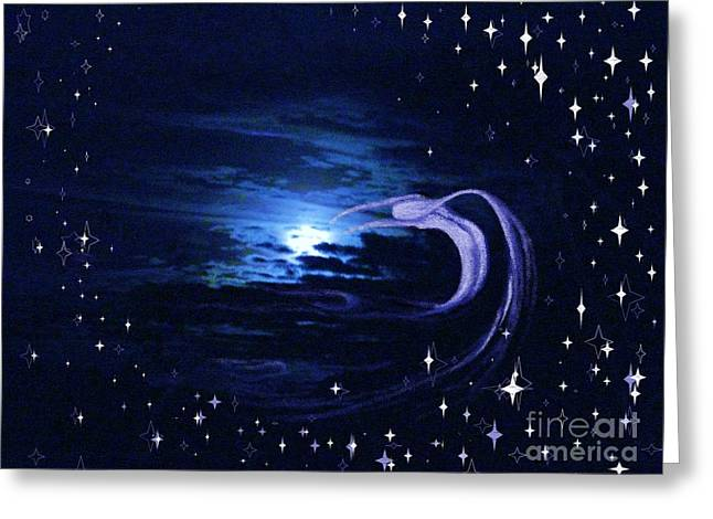 Moonlight Swim Greeting Card by Jacquelyn Roberts