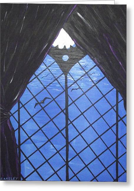 Greeting Card featuring the painting Moonlight Through The Window by Martin Blakeley