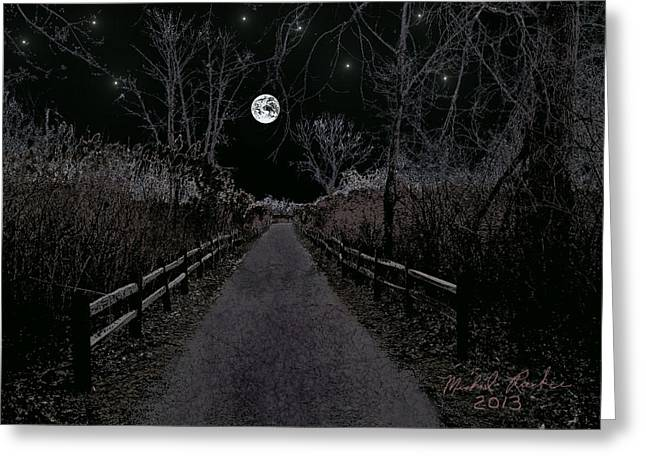 Moonlight Trail Greeting Card by Michael Rucker