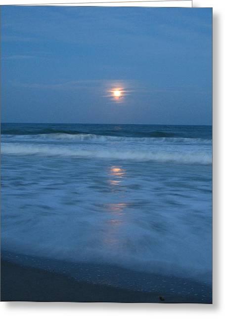 Moonlit Beach Too Greeting Card by Peggy Burley