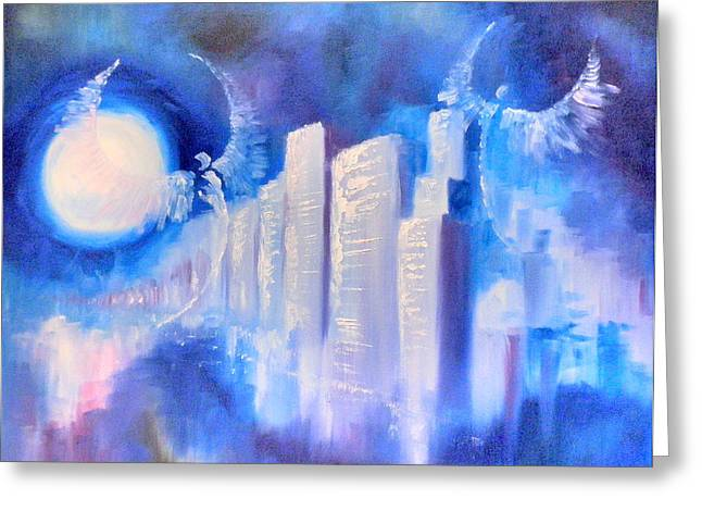 Moonlit City Blue Greeting Card