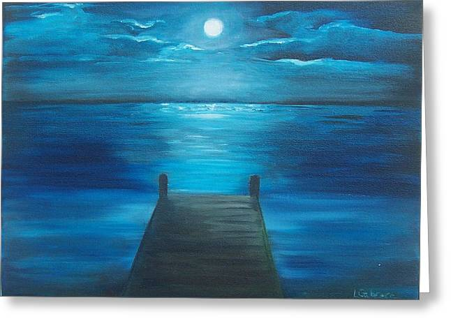Moonlit Dock Greeting Card