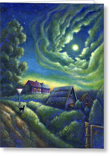 Moonlit Dreams Come True Greeting Card by Retta Stephenson