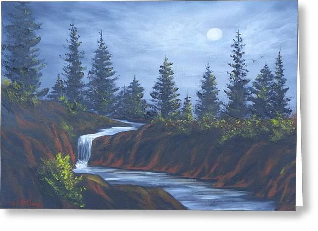 Moonlit Falls Greeting Card