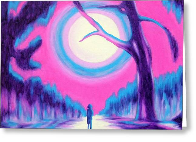 Moonlit Forest Greeting Card by Casoni Ibolya