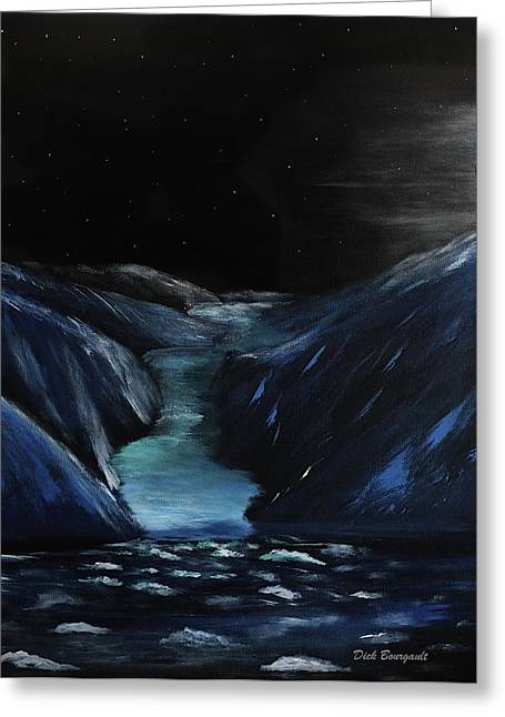 Moonlit Glacier Greeting Card