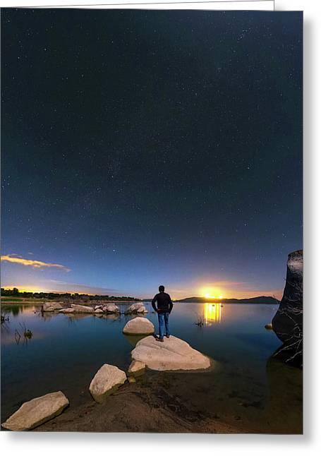 Moonlit Lake Alqueva Greeting Card