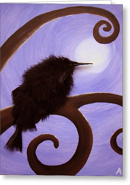 Moonlit Meditation Greeting Card by Annette Egan