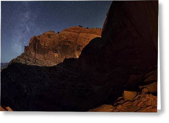 Moonlit Milky Way Panorama From False Kiva Greeting Card by Mike Berenson