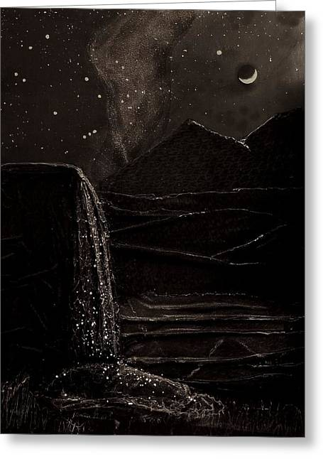 Greeting Card featuring the mixed media Moonlit Night by Angela Stout