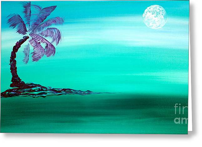 Greeting Card featuring the painting Moonlit Palm by Jacqueline Athmann