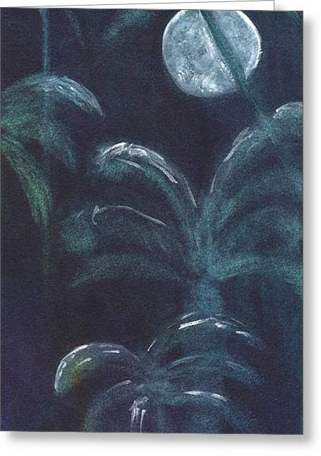 Moonlit Palms Greeting Card by Mickey Krause