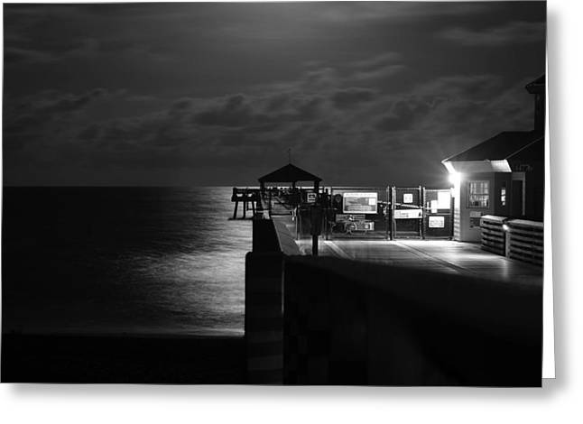 Moonlit Pier Black And White Greeting Card by Laura Fasulo