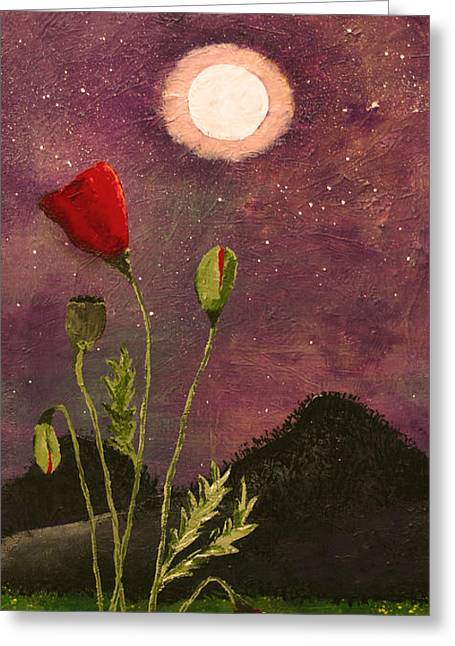 Moonlit Poppies Greeting Card by Rebecca Pickrel