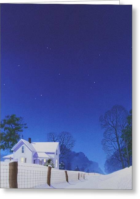 Moonlit Snowfall Greeting Card