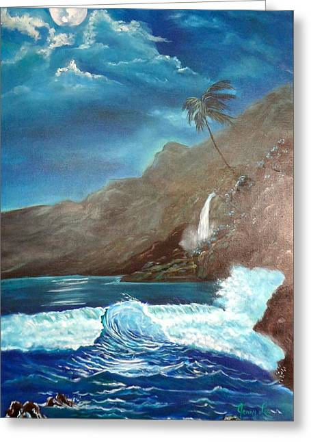 Greeting Card featuring the painting Moonlit Wave by Jenny Lee