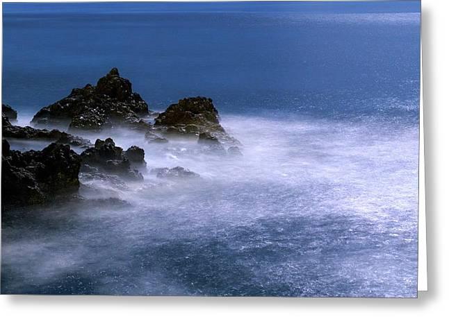 Moonlit Waves Greeting Card by Babak Tafreshi