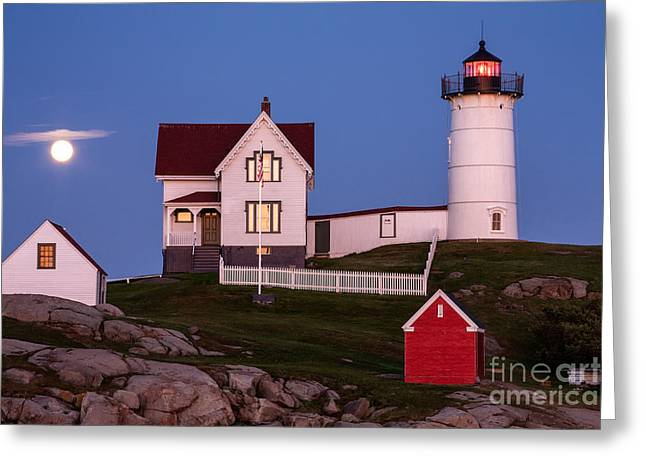 Moonrise At Nubble Light York Maine Greeting Card