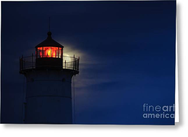 Moonrise At Nubble Lighthouse Greeting Card by Scott Thorp