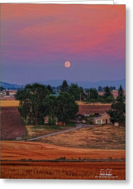Moonrise At Sunset Greeting Card by Dan Quam