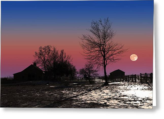 Greeting Card featuring the photograph Moonrise At Sunset by Larry Landolfi