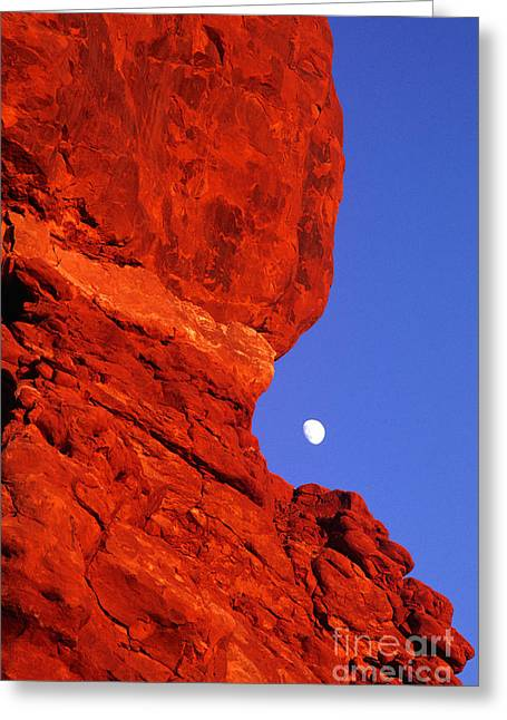 Greeting Card featuring the photograph Moonrise Balanced Rock Arches National Park Utah by Dave Welling