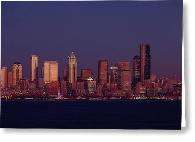 Moonrise Behind The Downtown Seattle Greeting Card