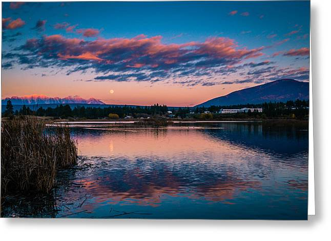 Greeting Card featuring the photograph Moonrise Cranbrook Baker Mountain by Rob Tullis