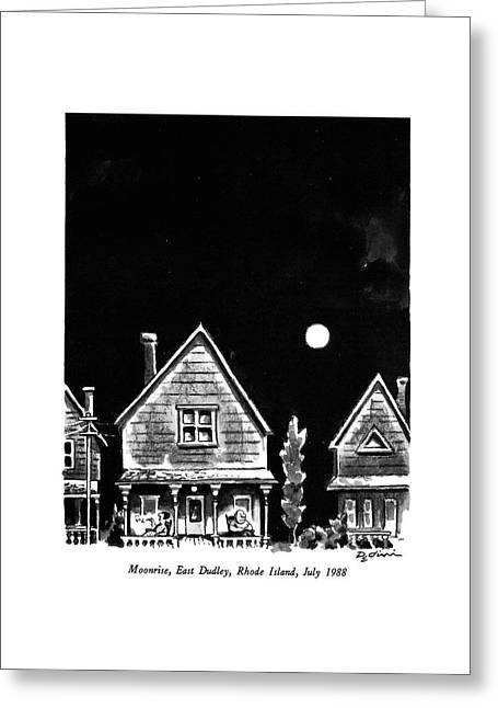 Moonrise, East Dudley, Rhode Island, July 1988 Greeting Card