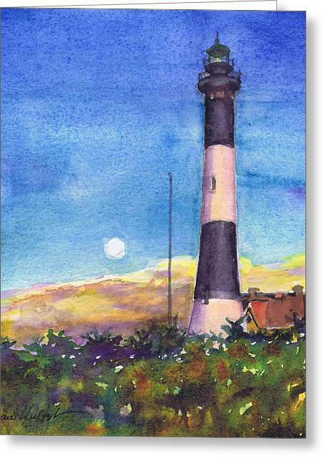 Greeting Card featuring the painting Moonrise Fire Island Lighthouse by Susan Herbst
