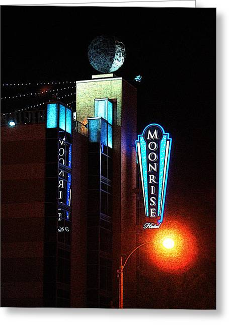 Moonrise Hotel Greeting Card by David Blank