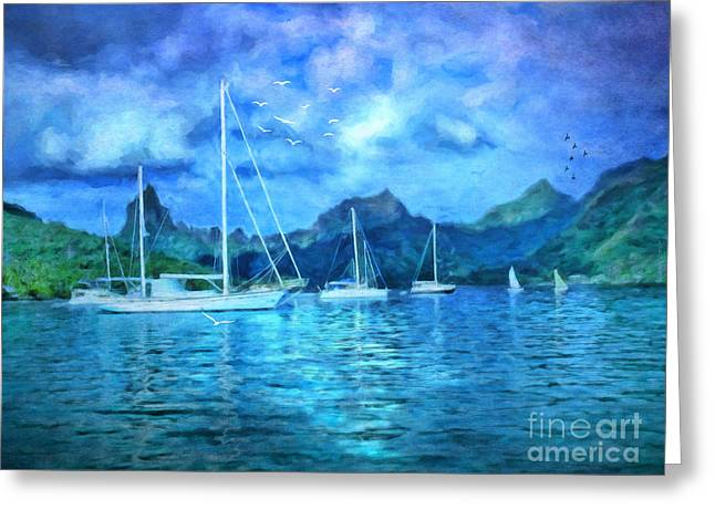 Greeting Card featuring the digital art Moonrise In Mo'orea by Lianne Schneider
