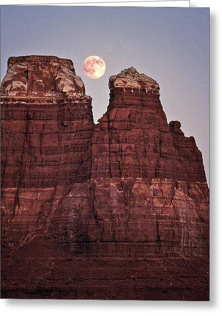 Greeting Card featuring the photograph Moonrise In Utah by Christopher McKenzie