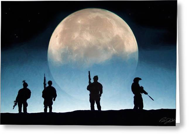 Moonrise Mission Greeting Card by Peter Chilelli