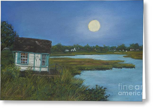 Greeting Card featuring the painting Moonrise Orient Point by Susan Herbst