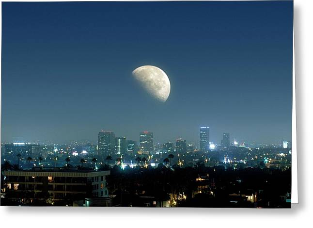 Moonrise Over Beverley Hills Greeting Card