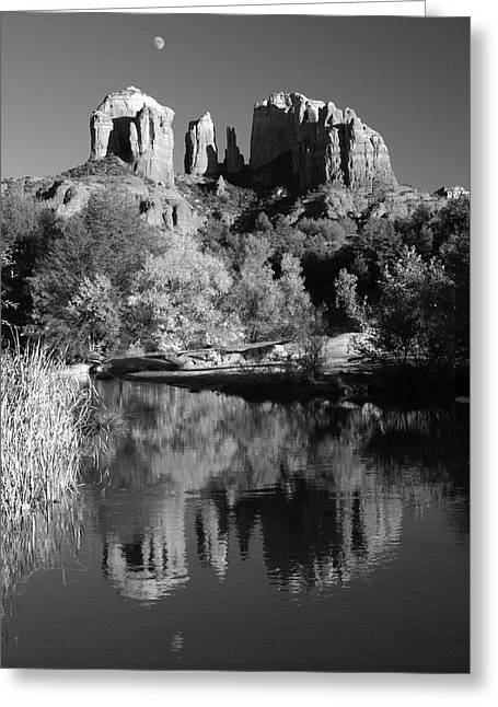 Moonrise Over Cathedral Rocks Greeting Card