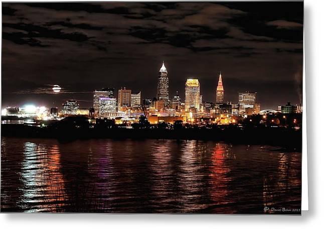 Moonrise Over Cleveland Skyline Greeting Card