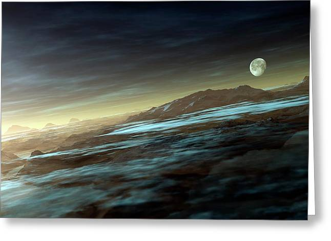 Moonrise Over Mountains Greeting Card