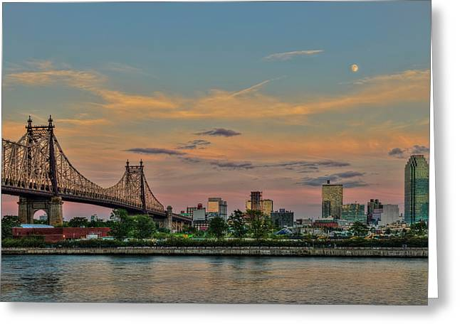 Moonrise Over Queensboro  59th Street Greeting Card